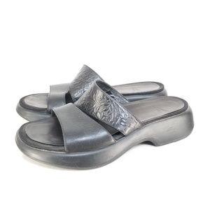 Dansko Slide Slip On Sandals Black Floral Sz 39